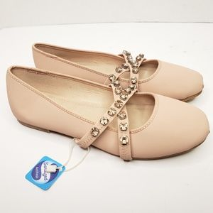 ZARA Girls 2.5 Pink Ballet Cross Rhinestone Flats